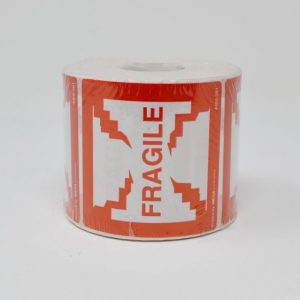 """2-1/2"""" X 2-1/2"""""""" Fragile Red Print- (500 Labels/Roll)"""