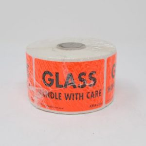 """2"""" X 3"""" Glass Handle With Care Label - Black Print On Red Paper - (500 Lables/Roll)"""
