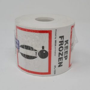 """3"""" X 4"""" Keep Frozen W/ Penguin Black/Red Print on White Paper (500 Labels/Roll)"""