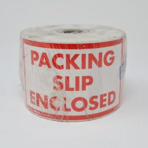 """3"""" X 5"""" Packing Slip Enclosed Label White W/Red Text (500 Labels/Roll)"""