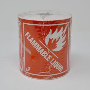 100mm X 100mm Flammable  Label Red W/Wht Text Class 3 - (500 Labels/Roll)