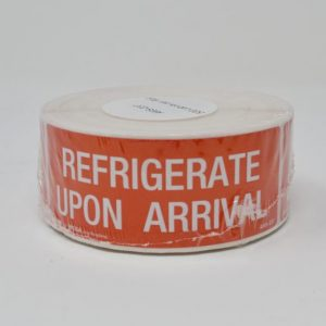 "1-1/2"" X 4"" Refrigerate Upon Arrival Label - Red With White Print - (500 Labels/Roll)"