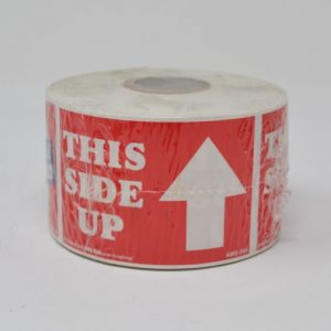 """2"""" X 3"""" This Side Up Red Label (500 Labels/Roll)"""