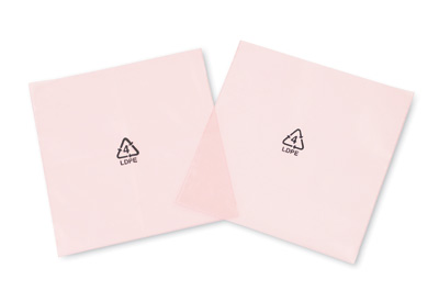 """2"""" x 4"""" Anti-Static Flat Poly Bag Printed with Recycle Symbol - Pink Tinted (2 mil)"""