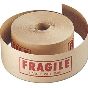 "3"" x 450' Reinforced Gummed Carton Sealing Tape Printed with ""Fragile"" - Tan (#260 Grade)"