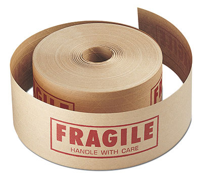 """3"""" x 450' Reinforced Gummed Carton Sealing Tape Printed with """"Fragile"""" - Tan (#260 Grade)"""