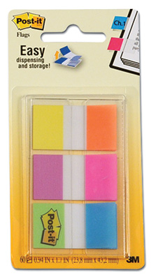 """1"""" 3M™ Post-It® Flags - Electric Glow Alternating Colors (60 Flag per Pack)"""