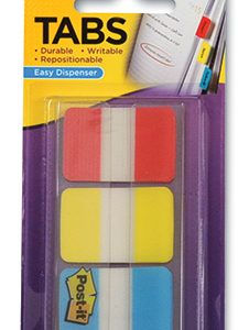 "1"" 3M™ Post-It® Tabs - Primary Colors (66 Tabs per Pack)"