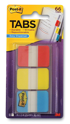"""1"""" 3M™ Post-It® Tabs - Primary Colors (66 Tabs per Pack)"""