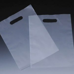 """12"""" x 15"""" High Density Poly Tote Bag with Die-Cut Handle - Frosted (3 mil)"""