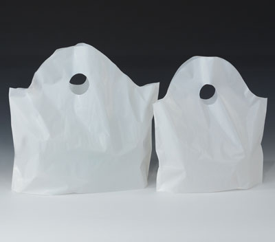 "12"" x 13"" + 5"" White High Density Restaurant Take-Out Bag  (1.2 mil)"