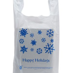 "12"" x 7"" x 23"" High Density T-Shirt Bag with ""Happy Holidays"" Print - White (.5 mil)"