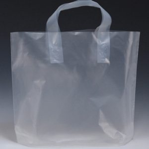 "12"" x 10"" High Density Shopper with 4"" Bottom Gusset - Clear (2.25 mil)"