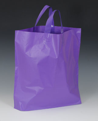 "12"" x 10"" High Density Shopper with 4"" Bottom Gusset - Purple (2.25 mil)"