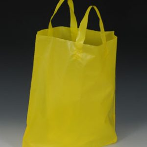 """22"""" x 18"""" High Density Shopper with 8"""" Bottom Gusset - Yellow (2.25 mil)"""