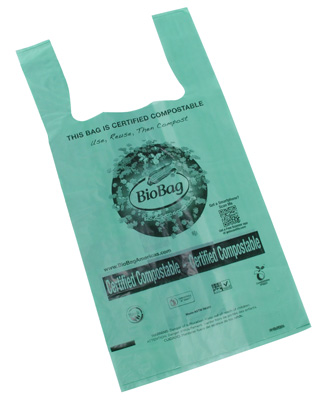 "10-1/2"" x 6-1/4"" x 19-1/2"" Biobag® Compostable T-Shirt Bag (.8 mil)"