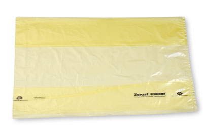 """15"""" x 9"""" x 24"""" Zerust® VCI Anti-Rust Gusseted Poly Liners - Yellow Tinted (2 mil)"""