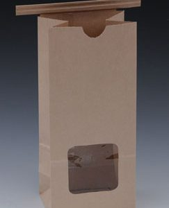 """3-3/8"""" x 2-1/2"""" x 7-3/4"""" Poly-Lined Gusseted Paper Bag with Tabs & Window - Kraft (50 lb.)"""