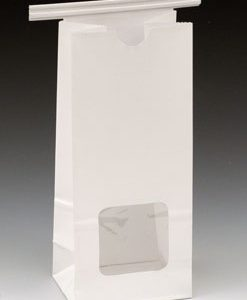 """3-3/8"""" x 2-1/2"""" x 7-3/4"""" Poly-Lined Gusseted Paper Bag with Tabs & Window - White (50 lb.)"""