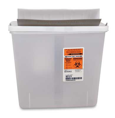 "10-3/4"" x 4-3/4"" x 11"" Clear Portable Sharps Container with Mailbox Lid (5 Quart)"