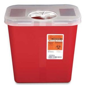 "10-1/2"" x 7-1/4"" x 10"" Red Portable Sharps Container with Rotor Lid (2 Gallon)"