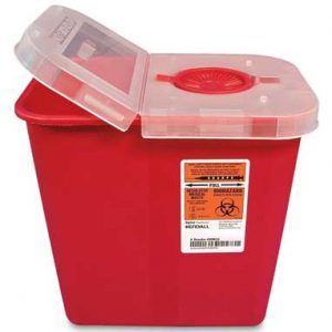 "10-1/2"" x 7-1/4"" x 10"" Red Portable Sharps Container with Hinged Lid (2 Gallon)"