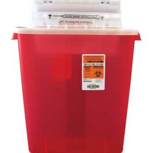 "13-3/4"" x 6"" x 16-1/2"" Red Portable Sharps Container with Counter Balance Lid (3 Gallon)"