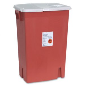 """18-1/4"""" x 12-3/4"""" x 26-3/4"""" Red Portable Sharps Container with Hinged Lid (18 Gallon)"""