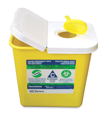 "10-1/2"" x 7-1/4"" x 10"" Leakproof Chemotherapy Sharps Container with Hinged Lid (2 Gallon)"