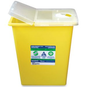 "15-1/2"" x 11"" x 17-3/4"" Leakproof Chemotherapy Sharps Container with Hinged Lid (8 Gallon)"