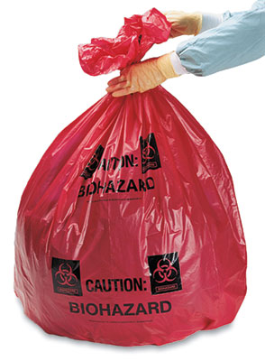 """24"""" x 24"""" Biohazard Message High Density Flat Poly Liner with Star Seal - Red (.75 mil)"""