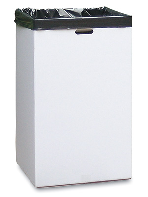 "18"" x 18"" x 30"" Corrugated Trash Container - White (200-lb. Test / 32-lb. ECT)"