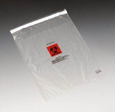 "12"" x 15"" Tamper-Evident Specimen Bag with Permanent Adhesive and Front Pouch (2 mil)"