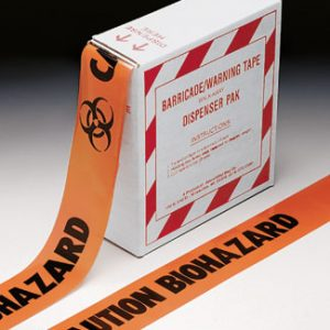 "3"" x 1000' Orange Barricade and Warning Tape - ""Caution Biohazard"" Message (3 mil)"
