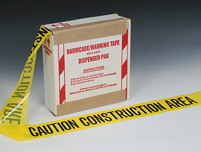 """3"""" x 1000' Yellow Barricade and Warning Tape - """"Caution Construction Area"""" Message (3 mil)"""