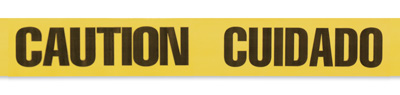 "3"" x 1000' Yellow Barricade and Warning Tape - ""Caution Cuidado"" Message (3 mil)"