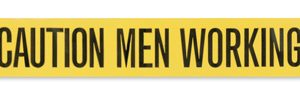 "3"" x 1000' Yellow Barricade and Warning Tape - ""Caution Men Working"" Message (3 mil)"