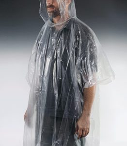 Disposable Rain Poncho - One Size - Clear