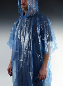 Disposable Rain Poncho - One Size - Blue