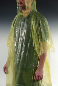 Disposable Rain Poncho - One Size - Yellow