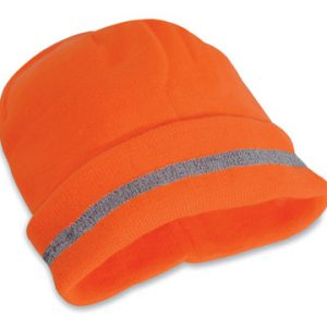 High Visibility Fluorescent Orange Knit Beanie Hat - Class 2 Headwear - One Size