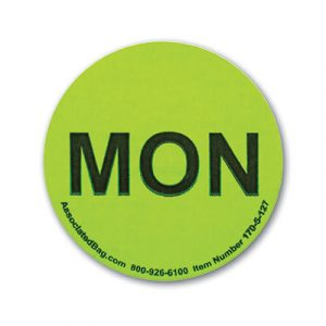 """1"""" Circle Days of the Week Inventory Labels - """"Mon"""" (500 Labels)"""