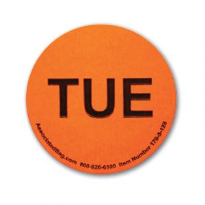 """1"""" Circle Days of the Week Inventory Labels - """"Tues"""" (500 Labels)"""