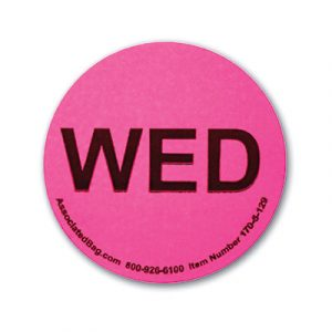 """1"""" Circle Days of the Week Inventory Labels - """"Wed"""" (500 Labels)"""