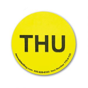 """1"""" Circle Days of the Week Inventory Labels - """"Thur"""" (500 Labels)"""