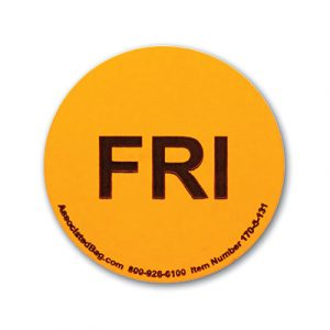 """1"""" Circle Days of the Week Inventory Labels - """"Fri"""" (500 Labels)"""