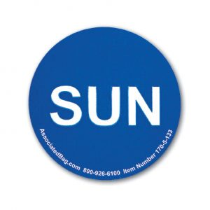 """1"""" Circle Days of the Week Inventory Labels - """"Sun"""" (500 Labels)"""