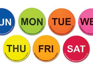 """1"""" Circle Days of the Week Inventory Labels - Easy Order Pack (One Roll of Each Day) (500 Labels)"""