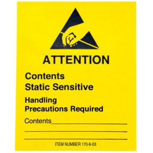 "2"" x 2-1/2"" Yellow Anti-Static Warning Label - Static Sensitive Message (2-1/2"" Roll Width)"