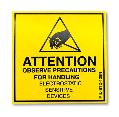 "2"" x 2"" Yellow Anti-Static Warning Label - ESD Message (2"" Roll Width)"
